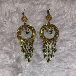gold and green diamond Earings